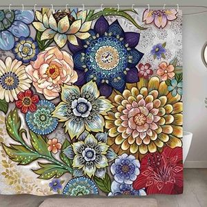 Shower Curtain for Bathroom, Colorful Flower set